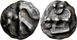 CELTIC, Central Gaul. Aedui. Circa 60-50 BC. Cast double unit (Potin, 21 mm, 9.75 g), 'au mannequin' type. Male head to left, devolved into a standing...