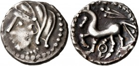 CELTIC, Central Gaul. Lemovices. Circa 100-50 BC. Quinarius (Silver, 14 mm, 1.90 g, 12 h), 'à l'épée' type. Celticized male head with thick locks to l...