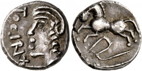 CELTIC, Central Gaul. Sequani. Mid 1st century BC. Quinarius (Silver, 13 mm, 1.91 g, 8 h), Togirix. TOGIRIX Celticized head of Roma to left. Rev. [TOG...