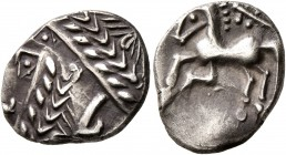 CELTIC, Southern Gaul. Allobroges. Cn. Pompeius Voluntilus, circa 70-61 BC. Drachm (Silver, 15 mm, 2.33 g, 11 h). Laureate male head to left. Rev. [VO...
