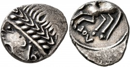 CELTIC, Southern Gaul. Allobroges. Cn. Pompeius Voluntilus, circa 70-61 BC. Quinarius (Silver, 15 mm, 2.28 g, 5 h). Laureate male head to left. Rev. ⅃...