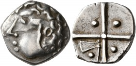 CELTIC, Southern Gaul. Longostaletes. 2nd century BC. Drachm (Silver, 16 mm, 3.51 g), 'à la croix' type. Male head with curly hair to left. Rev. Large...