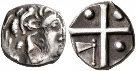 CELTIC, Southern Gaul. Longostaletes. 2nd century BC. Drachm (Silver, 14 mm, 3.56 g), 'à la croix' type. Celticized male head to right. Rev. Large cro...