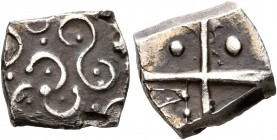 CELTIC, Southern Gaul. Longostaletes. Late 2nd to early 1st century BC. Drachm (Silver, 14 mm, 2.01 g), 'à la croix' type. Disjointed male head to lef...