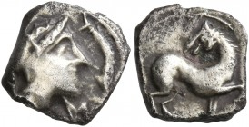CELTIC, Southern Gaul. Nedenes. 1st century BC. Obol (Silver, 9 mm, 0.60 g, 11 h). M Diademed female head to right; before, dolphin. Rev. Horse standi...