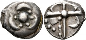 CELTIC, Southern Gaul. Sotiates. Late 2nd to early 1st century BC. Drachm (Silver, 15 mm, 3.35 g), 'à la fleur trilobée' type. Threepartite floral orn...