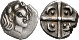CELTIC, Southern Gaul. Volcae-Tectosages. 2nd century BC. Drachm (Silver, 14 mm, 3.50 g), 'à la croix' type. Celticized male head to right. Rev. Large...