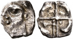 CELTIC, Southern Gaul. Volcae-Tectosages. Mid 2nd to early 1st century BC. Hemiobol (Silver, 7 mm, 0.29 g), 'à la croix' type. Celticized male head to...