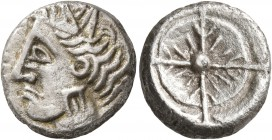 CELTIC, Southern Gaul. Uncertain tribe. Circa 2nd century BC. Drachm (Silver, 15 mm, 4.43 g), imitating Rhode. Celticized head of Persephone to left, ...