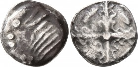 CELTIC, Southern Gaul. Uncertain tribe. Circa 2nd century BC. Drachm (Silver, 16 mm, 4.57 g), imitating Rhode. Devolved and disjointed head of Perseph...