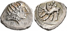 CELTIC, Southern Gaul. Uncertain tribe. Late 2nd to 1st century BC. Obol (Silver, 12 mm, 0.77 g, 2 h), imitating Massalia. Celticized male head to rig...
