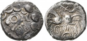 CELTIC, Central Europe. Helvetii. Circa 75/50-25 BC. Quinarius (Subaeratus, 12 mm, 1.34 g, 7 h), Vatico. Celticized male bust to left, the hair devolv...