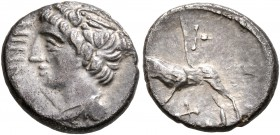 CELTIC, Central Europe. Rauraci. Circa 50-30 BC. Quinarius (Silver, 12 mm, 1.54 g, 4 h), Ninno. NINNO Draped bust of a youthful male to left, with win...