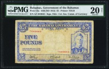 Bahamas Bahamas Government 5 Pounds 1936 (ND 1944) Pick 12a PMG Very Fine 20 Net. Repaired.  HID09801242017