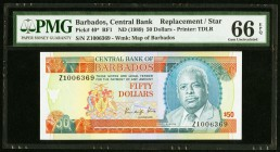 Barbados Central Bank 50 Dollars ND (1989) Pick 40* Replacement PMG Gem Uncirculated 66 EPQ.   HID09801242017
