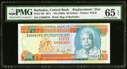 Barbados Central Bank 50 Dollars ND (1989) Pick 40* Replacement PMG Gem Uncirculated 65 EPQ.   HID09801242017