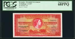 Bermuda Bermuda Government 10 Shillings 1.5.1957 Pick 19b PCGS Superb Gem New 68PPQ.   HID09801242017