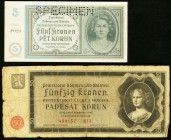 Bohemia and Moravia Protektorat Bohmen und Mahren 5 Korun ND (1940) Pick 4s Specimen About Uncirculated; 50 Korun 12.9.1940 Pick 7 Fine. A perforated ...