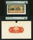 Bolivia Banco Industrial de La Paz 5 Bolivianos 1.6.1900 Pick S152fp; S152bp Front And Back Proofs PMG Gem Uncirculated 65 EPQ. Five POCs On front pro...