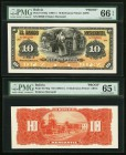 Bolivia Banco Mercantil 10 Bolivianos 1906-11 Pick S174fp; S174bp Front And Back Proofs PMG Gem Uncirculated 66 EPQ; Gem Uncirculated 65 EPQ. Four POC...