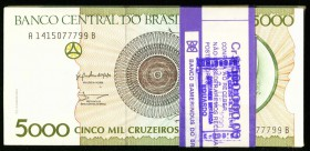 Brazil Banco Central Do Brasil 5000 Cruzeiros ND (1990) Pick 227 Pack of 99 Choice Crisp Uncirculated.   HID09801242017