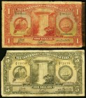 British Guiana Government of British Guiana $1; $5 1.10.1938 Pick 12b; 14a Very Good. The $1 example has a tape repaired right margin; the $5 note has...