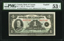 Canada Bank of Canada $1 1935 BC-1 PMG About Uncirculated 53 EPQ. English.  HID09801242017