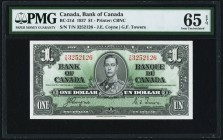 Canada Bank of Canada $1 2.1.1937 Pick BC-21d PMG Gem Uncirculated 65 EPQ.   HID09801242017