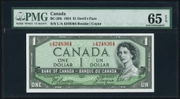 "Canada Bank of Canada $1 1954 BC-29b ""Devil's Face"" PMG Gem Uncirculated 65 EPQ.   HID09801242017"