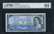 "Canada Bank of Canada $5 1954 BC-31b ""Devil's Face"" PMG Choice Uncirculated 64 EPQ.   HID09801242017"