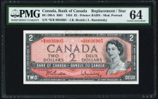 Canada Bank of Canada $2 1954 BC-38bA Replacement PMG Choice Uncirculated 64.   HID09801242017