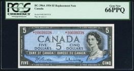 Canada Bank of Canada $5 1954 BC-39bA Replacement PCGS Gem New 66PPQ.   HID09801242017