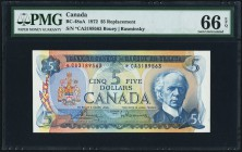 Canada Bank of Canada $5 1972 BC-48aA Replacement PMG Gem Uncirculated 66 EPQ.   HID09801242017