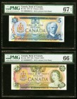 Canada Bank of Canada $5; $20 1979 BC-53a; BC-54a Two Examples PMG Superb Gem Unc 67 EPQ; Gem Uncirculated 66 EPQ.   HID09801242017