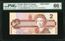 Canada Bank of Canada $2 1986 BC-55aS Specimen PMG Gem Uncirculated 66 EPQ.   HID09801242017