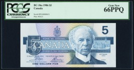 Canada Bank of Canada $5 1986 BC-56a PCGS Gem New 66PPQ. Low serial number.  HID09801242017