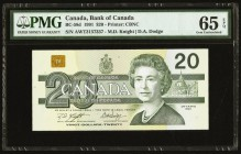 Canada Bank of Canada $20 1991 BC-58d PMG Gem Uncirculated 65 EPQ.   HID09801242017