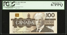 Canada Bank of Canada $100 1988 BC-60d PCGS Superb Gem New 67PPQ.   HID09801242017