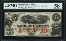 Canada Bank of Clifton $5 10.1.1859 Ch.# 125-10-04-06 PMG Choice About Unc 58. Hole punched cancelled.  HID09801242017