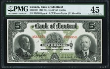 Canada Bank of Montreal $5 2.1.1923 Ch.# 505-56-02 PMG Choice Extremely Fine 45.   HID09801242017