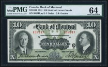 Canada Bank of Montreal $10 2.1.1931 Ch.# 505-58-04 PMG Choice Uncirculated 64.   HID09801242017