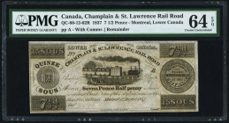 Canada Champlain & St. Lawrence Rail Road 7 1/2 Pence (15 Sous) QC-80-12-02R Remainder PMG Choice Uncirculated 64 EPQ.   HID09801242017
