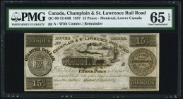 Canada Champlain & St. Lawrence Rail Road 15 Pence (30 Sous) 1837 QC-80-12-04R Remainder PMG Gem Uncirculated 65 EPQ.   HID09801242017