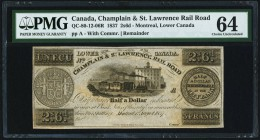 Canada Champlain & St. Lawrence Rail Road 2s 6d (3 Francs/1 Ecu) 1837 QC-80-12-06R Remainder PMG Choice Uncirculated 64.   HID09801242017