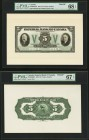 Canada, ON- Imperial Bank of Canada $5 1933 Ch# 375-20-02aFp; 375-20-02aBP Front And Back Proof PMG Superb Gem Unc 68 EPQ; Superb Gem Unc 67 EPQ.   HI...