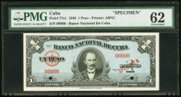 Cuba Banco Nacional de Cuba 1 Peso 1949 Pick 77s1 Specimen PMG Uncirculated 62. Two POCs, minor tear.  HID09801242017
