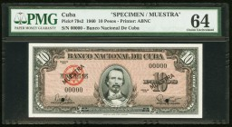 Cuba Banco Nacional de Cuba 10 Pesos 1960 Pick 79s2 Specimen PMG Choice Uncirculated 64. Two POCs.  HID09801242017