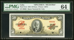 Cuba Banco Nacional de Cuba 50 Pesos 1958 Pick 81s2 Specimen PMG Choice Uncirculated 64. Two POCs.  HID09801242017