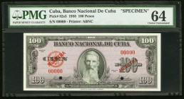 Cuba Banco Nacional de Cuba 100 Pesos 1958 Pick 82s3 Specimen PMG Choice Uncirculated 64. Two POCs.  HID09801242017