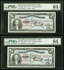 Cuba Banco Nacional de Cuba 1 Peso 1953 Pick 86a Commemorative Two Consecutive Examples PMG Choice Uncirculated 64 EPQ; Choice Uncirculated 64.   HID0...